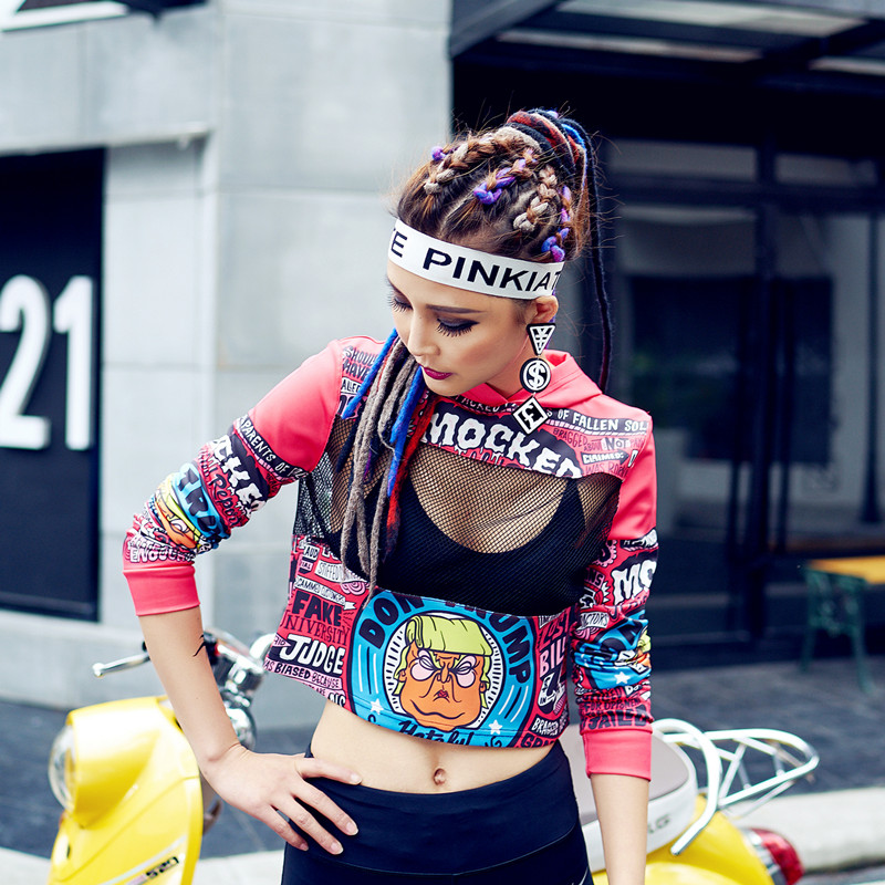 2018 New Summer Style Sexy Funny Short T Shirt Hip Hop Punk Printed Letter Dance T Shirt With Hooded Long Sleeve Women Tops Tee