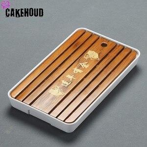 Image 4 - CAKEHOUD China Puer Tee Bambus Tablett Tee Tablett Entwässerung Wasser Lagerung Tisch Kungfu Tee Zeremonie Bord Service Tablett TeaAccessories