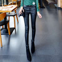 2017 Autumn Leather Women Pants Capris Leggings Sexy High Waist Pants Trousers Black Pencil Pants Female