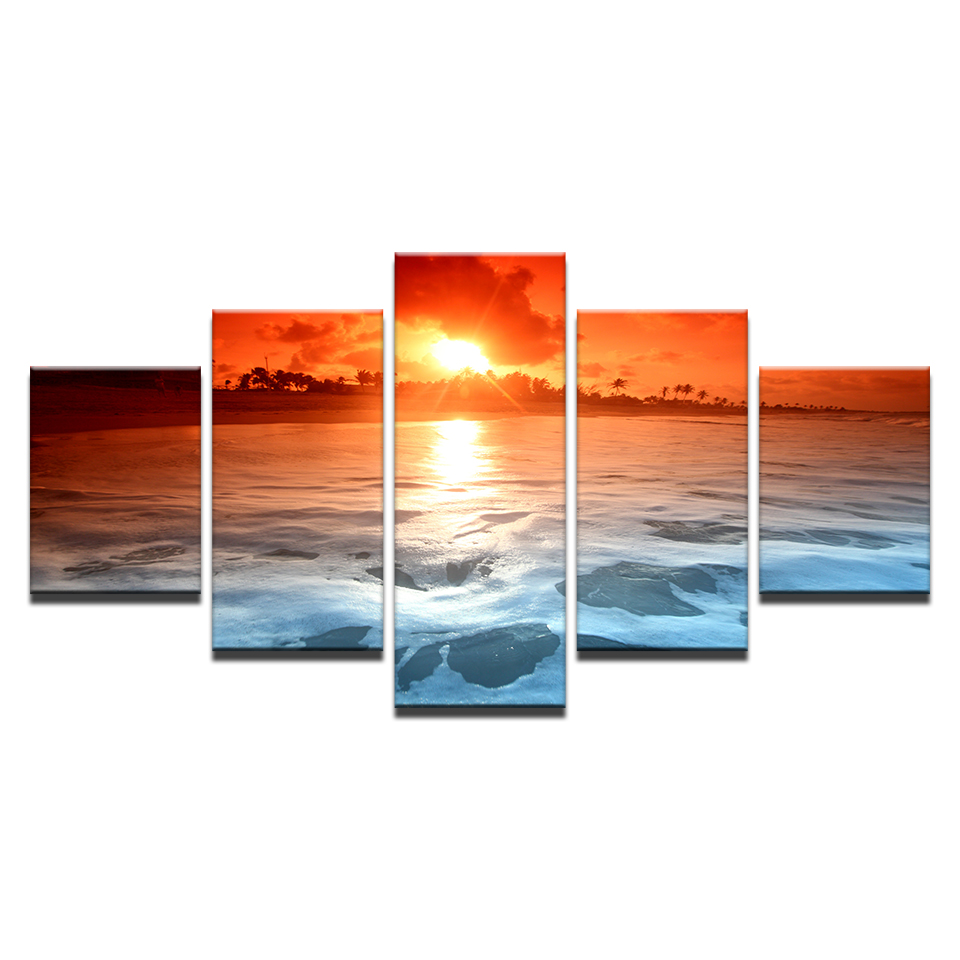 5 Pieces Sunset Glow Tinted Sky Red Paintings Beach Sea