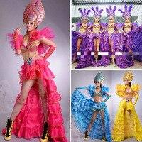 Бразилия Женщины открытие шоу сексуальный костюм Производительность Носить национальные Танцы комплект одежды Перо головной убор для ноч
