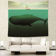 Fantasy House Decor Tapestry Surreal Giant Whale in the Middle of Sea and Little Sailboat on the Surface Print Wall Hanging GT8 цена в Москве и Питере