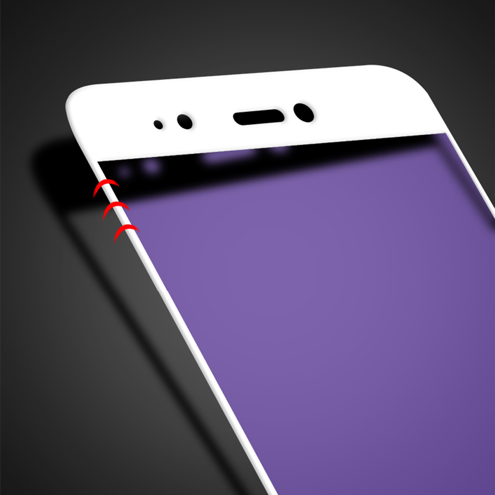3d Soft Edge Full Cover Tempered Glass Screen Protector For Xiaomi Mi5s White Plus 033mm Purple Protective Film In Phone Protectors