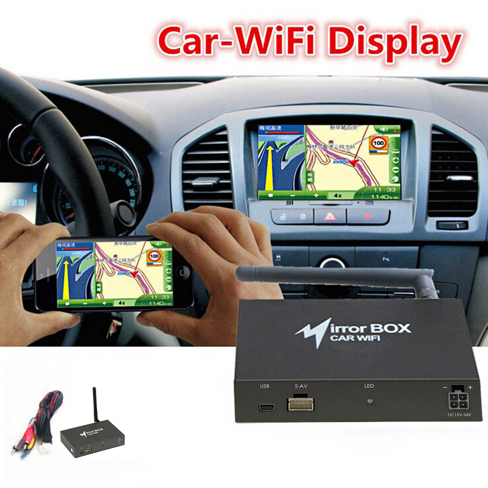 US $73 28 |Car WIFI Mirror Box for Android iOS Mobile Phone Navigation to  LCD Monitors Display A/V Mirror Converter Airplay Miracast DLNA-in  TV-Tuners