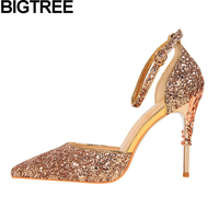 BIGTREE luxury high quality shoes woman metallic high heel stiletto wedding dress shoes ankle strap sequined bling pumps sandals