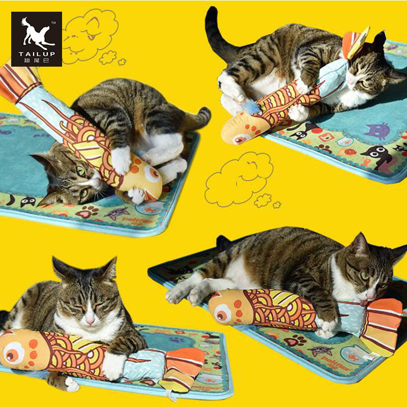 TAILUP Funny Catnip Fish Pillow Toys For Pet Cat Ring Paper Inside Cat Training Products Supplies