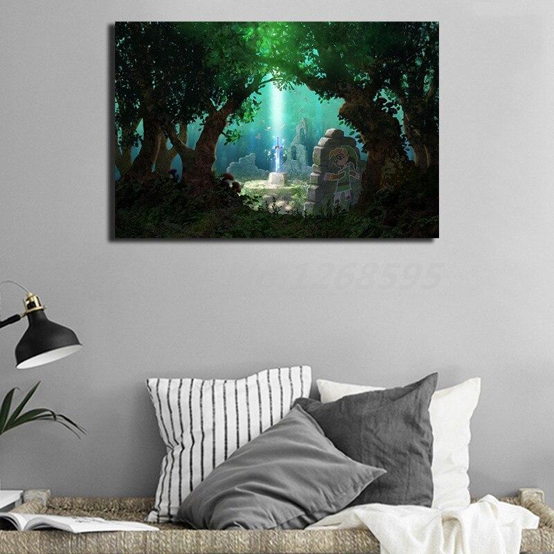 Legend Zelda Link Master Sword Canvas Painting Print Living Room Home  Modern Wall Art Oil Poster Artwork