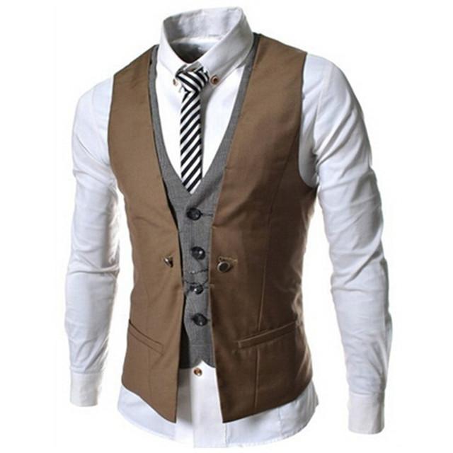 Nueva Lista de Los Hombres Chaleco de La Marca de Moda Diseño de Dos Falsos Chaleco masculino Casual Traje Slim Fit Chalecos Hombres Más El Tamaño M-XXL 6 COLOR