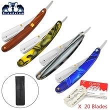 Grandslam Barber Straight Edge Razor För Man Shave Bead Rakning Kniv Rakare + Svart Knivpåse +20 Safety Razor Blades