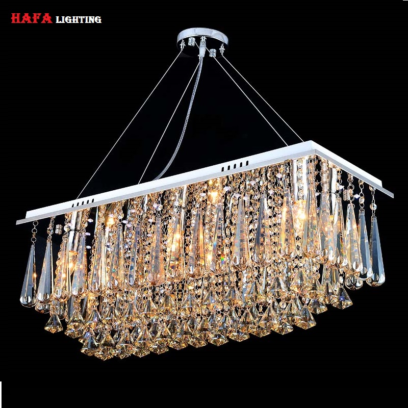 Chandeliers Dining Room Rectangle Crystal Pendant Chandelier Light Ing Lights Bedroom Lamp