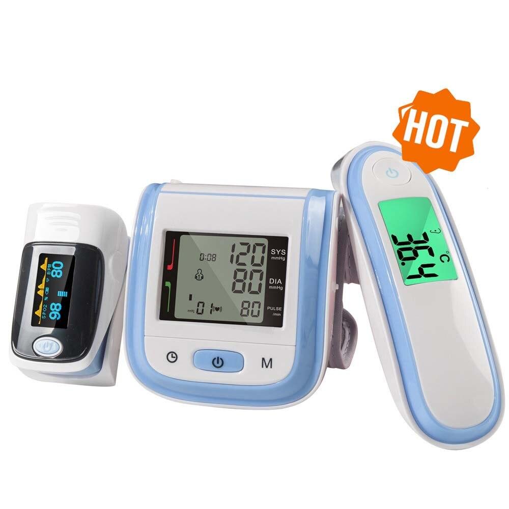 Infravermelho Termômetro de Pulso Oxímetro de pulso de oxigênio no sangue Monitor spo2 PR Monitor de Pressão Arterial Esfigmomanômetro Oxímetro De Dedo