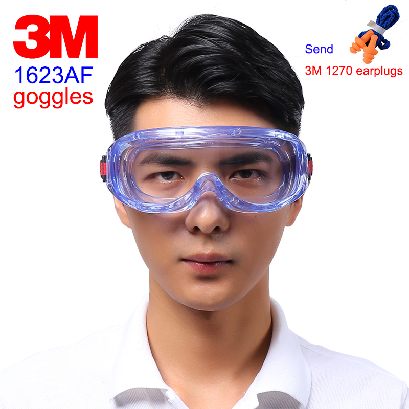 3M 1623AF protective glasses Big vision Chemistry safety goggles Anti-fog Anti-UV Anti-splashing work safety glasses недорго, оригинальная цена