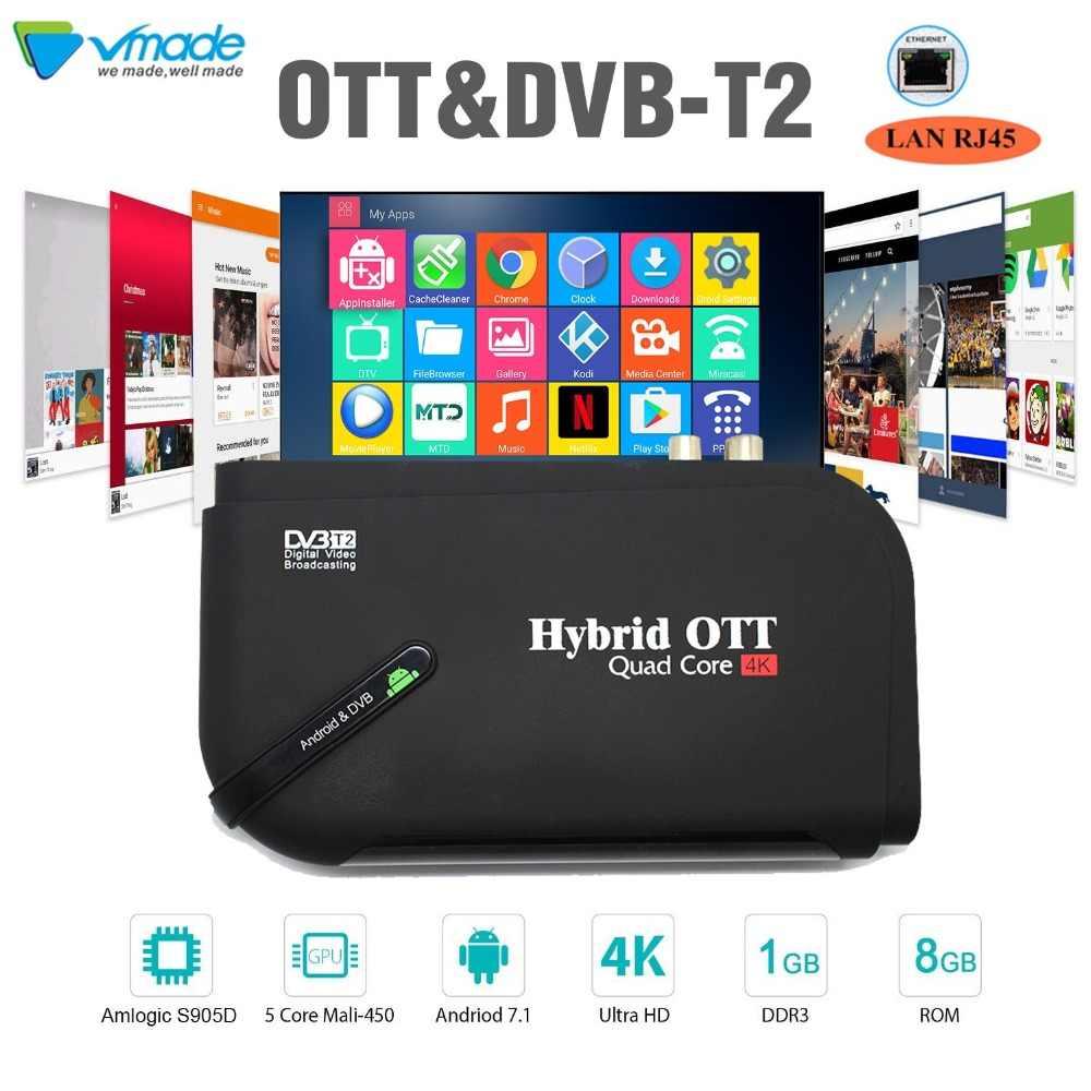 Original smart tv box full HD 1080p Android 7 1 OS android+DVB-T2 TV  programms wireless keyboard Amlogic S905D Quad-Core TV BOX