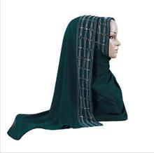 High Quality Glitter Rhinestone Bubble Pearl Chiffon Muslim Scarf Women Hijabs Long Turban Shawl Wrap Plain Headscarf 170x70cm