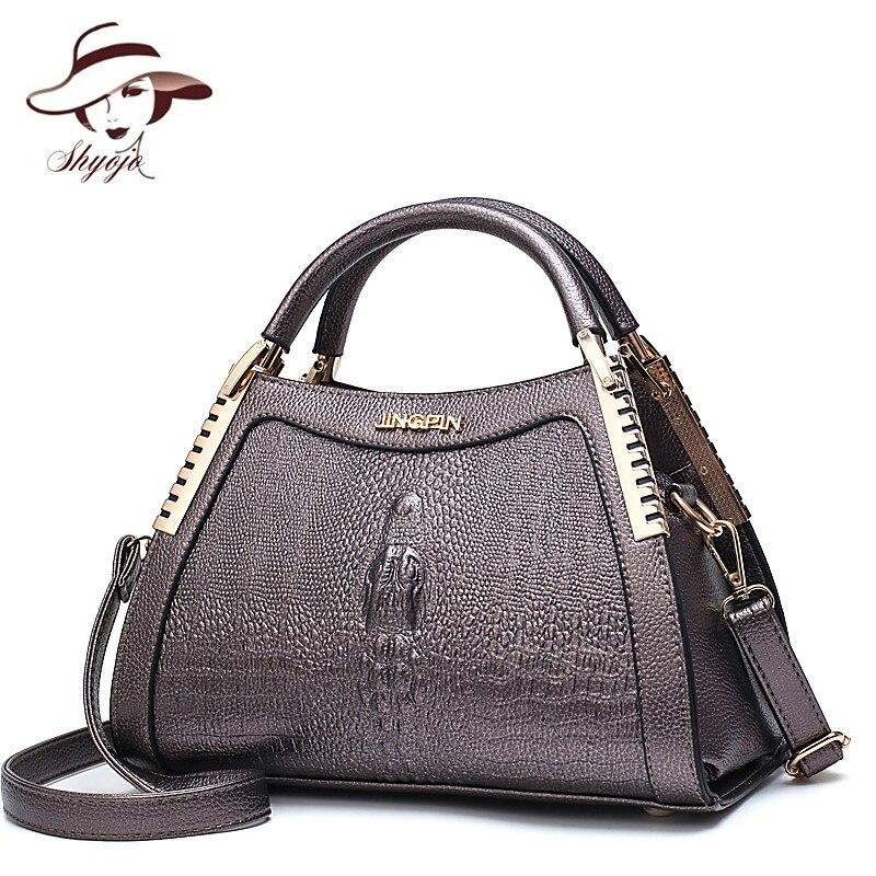 Fashion Women Messenger Bags Alligator Leather Handbags Crocodile Head Crossbody