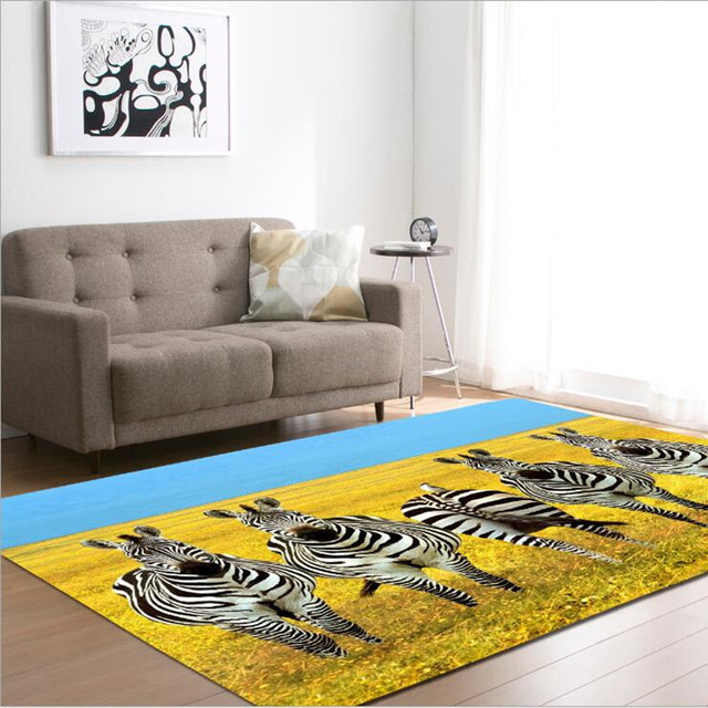 Cute Zebra Printing Carpets For Living Room Play Rug Baby Bedroom