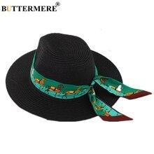 BUTTERMERE Hat Women Summer Sun Black White Straw Ladies Hats Ribbon Decoration Fedora Brand Female Panama