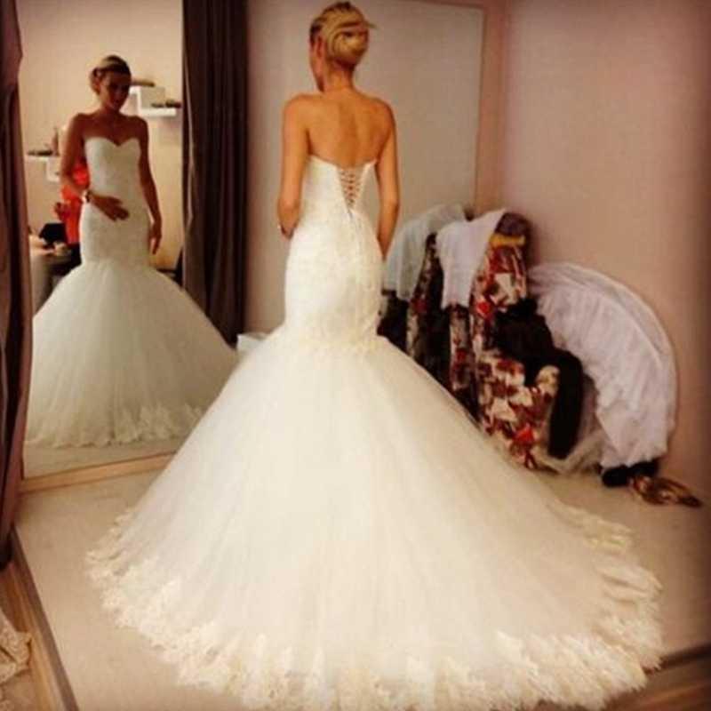 Потрясающие Без Бретелек Нижней Части Спины Топ Кружева Свадебные Платья