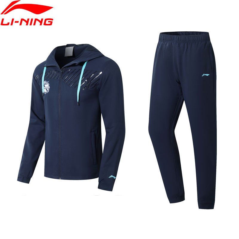 Li-Ning Men Puebla Club Training Track Suit Soccer Teamwear Hooded Jacket+Pants Li Ning LiNing Sports Suits Sets AACN007 MSY189