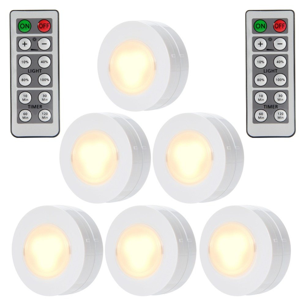 6 Packed LED Puck night Lights Remote Controlled Closet Lights Super Bright Under Cabinet Lighting Round Shape Battery Powered wireless remote control led under cabinet lights battery powered led night light rf remote dimmable timer functions magnets