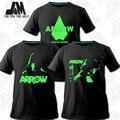 Green Arrow Hombre Oliver Queen Flecha Cosplay Tee T camisa fresca de los hombres camisas 3 artículos Luminoso camiseta XXXL envío gratis
