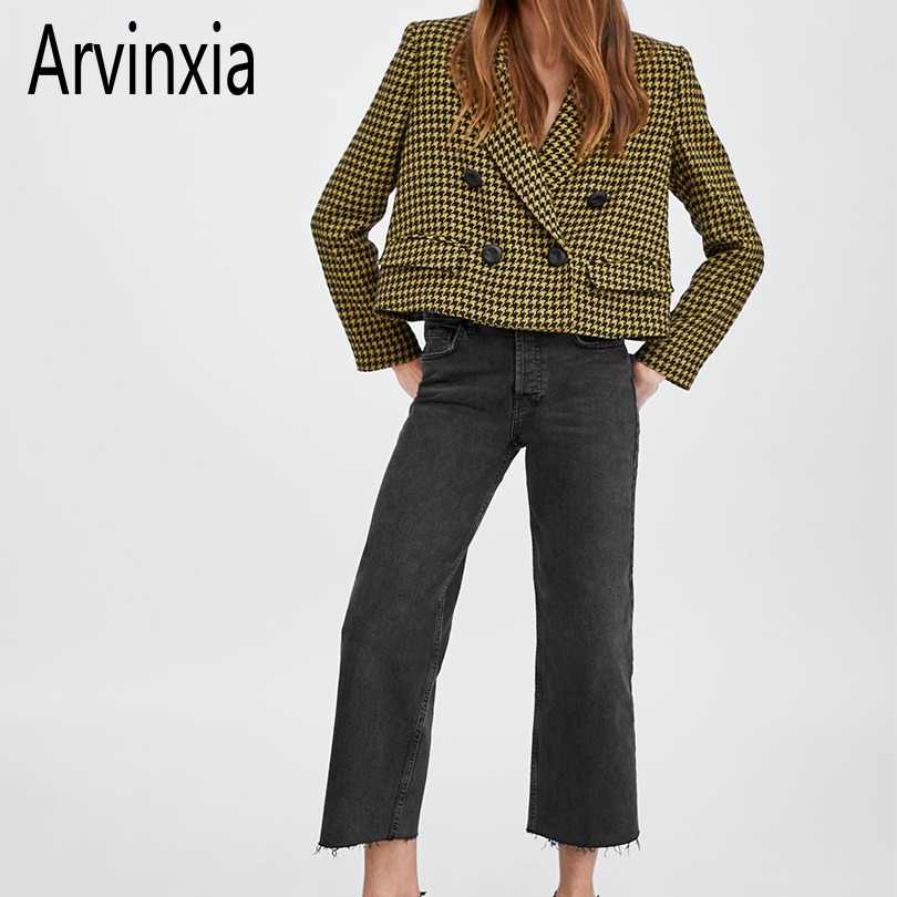 Arvinxia ZA New Arrival Plaid Pockets Office Lady Suit Casual Loose Blarzers Suit Cardigans Spring Long Sleeves Slim Women Coats