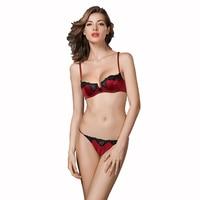 Lụa Đồ Lót Siêu mỏng Bra Thong Đặt Mới Nhất Sexy Đồ Lót Phụ Nữ Ren Satin Pháp Intimates Ladies Bras Panty Set B C Cup Red