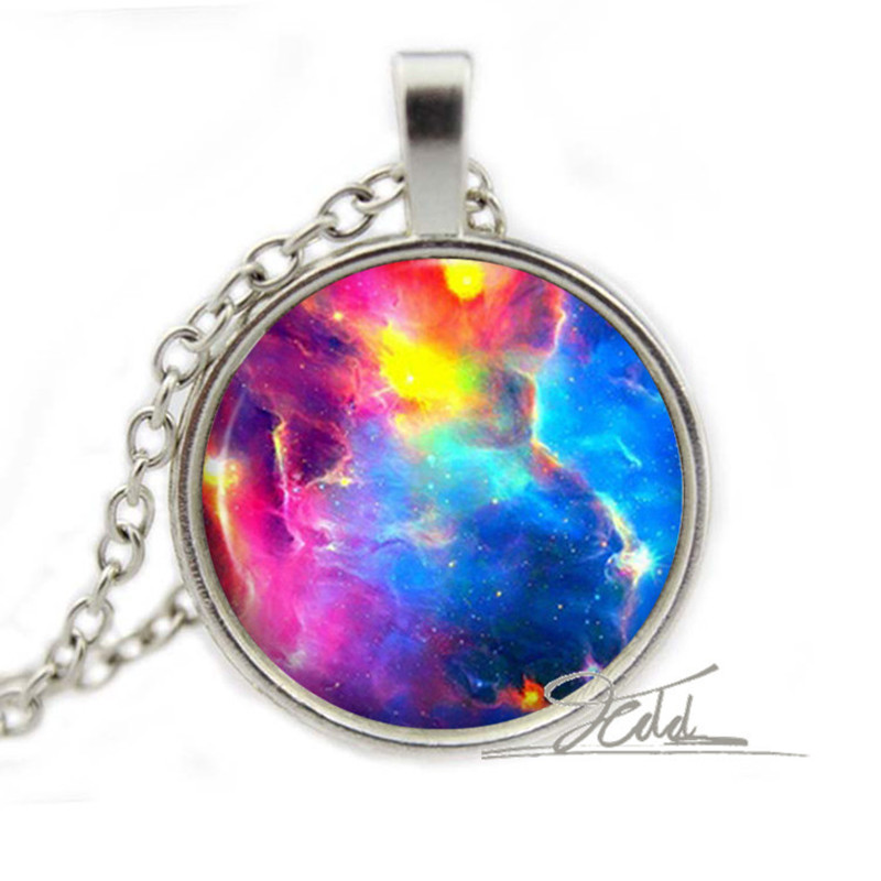 Rainbow Nebula Necklace - Galaxy Pendant Space Jewelry - Colourful Gifts for Her Glass Gem Cabochon Photo Pendant Necklace