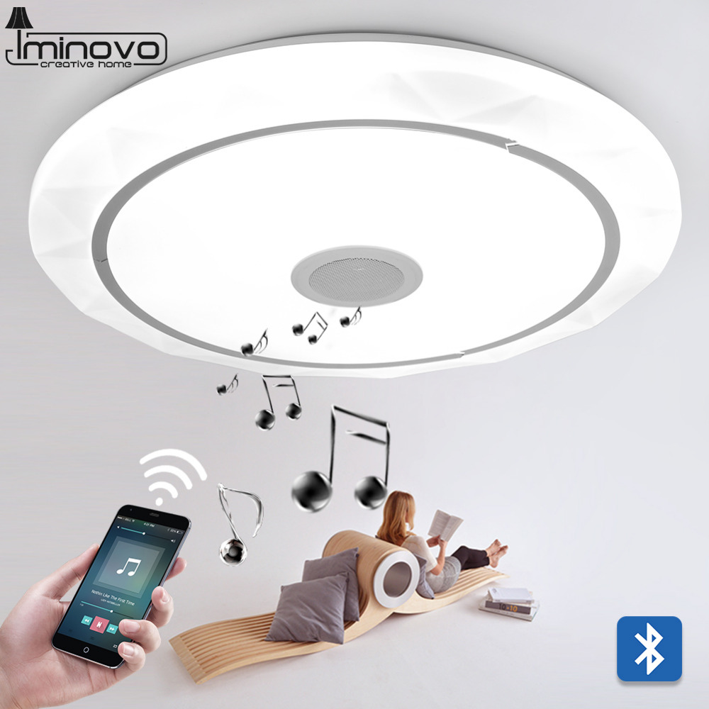 IMINOVO LEDModern Bluetooth music Surface Mounted Ceiling Light LED Panel Round Lamp Hall Flush for Living Room Bedroom Lighting usb3 0 round type panel mounting usb connecter silver surface