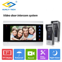 7 inch Monitor Intercom with 800TVL Door Phone Intercom Access System For Home Gate Entry Security with 1 monitor 2 call panels