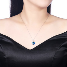 925 sterling silver necklace uses the Austria circular Gemstone Bizuteria pendant jewelry