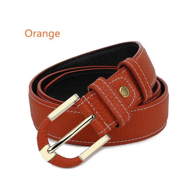 Fashion Women Cowhide Leather Belts Designer Pin Buckle Belts For Women High Quality Beauty Light Luxury