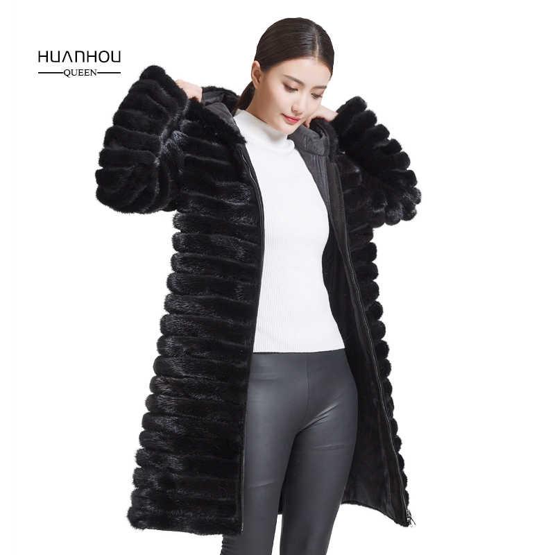 Королева huanhou 2018 натуральный мех норки пальто для женщин с капюшоном, есть большой размер зимнее теплое тонкое пальто.