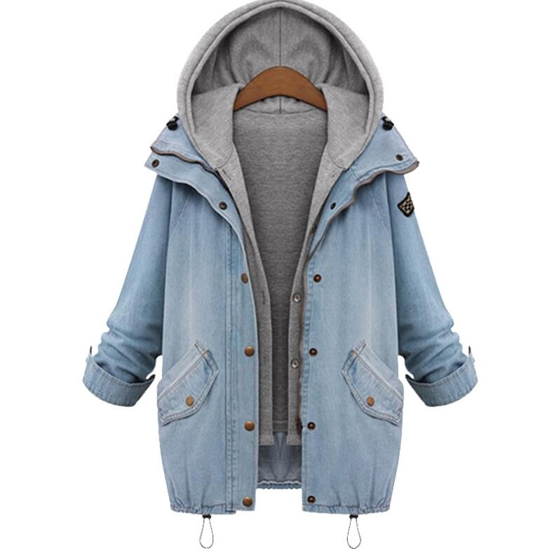 d68b811ee7a Women Denim Jacket Loose Casual Jean Jackets Windbreaker Two Pcs Set Jeans  Coat   Hoodie Coats