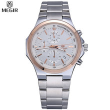 MEGIR Chronograph Sports Watches Full Steel Strap Relogio Clock Charm Men Multifunction Waterproof Quartz Wristwatch