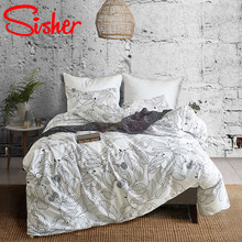 Sisher Nordic Style White Grey Bedding Sets Adult Bed Linen Set Single Double Queen King Bedclothes Duvet Cover