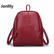Jonlily High Quality PU Backpack Retro College Style Student BagS Travel Cute beautiful beautifully minimalist fashion-GL006