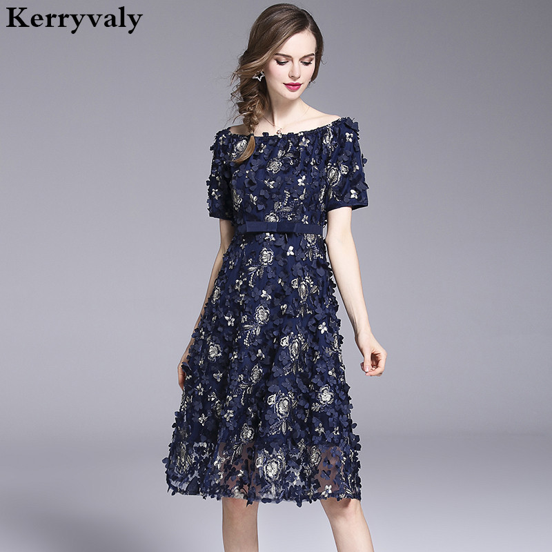 Summer Handmade Flower Embroidered Party Dress Vestido Mujer Verano 2019 Midi Ladies Dresses Sukienka Damska K6176
