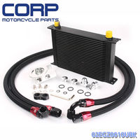 Black Universal 25 Row JDM Engine Oil Cooler Kit + AN10 Oil Lines Kit + Remote Oil Filter