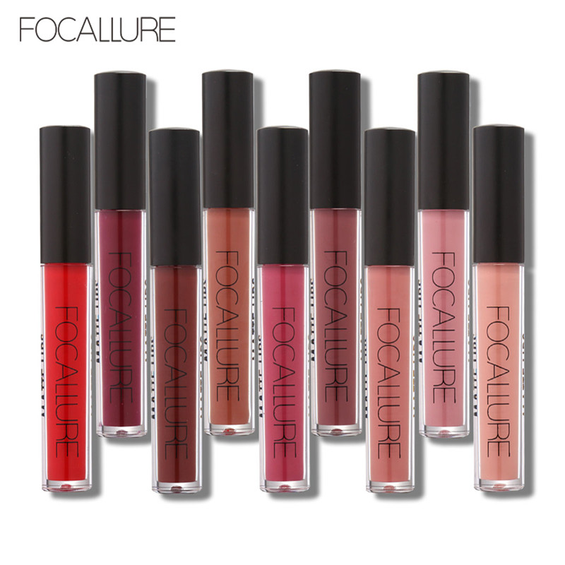 FOCALLURE Beauty Waterproof Batom Matte Liquid Lipstick Smooth Lip Stick Long Lasting Lip Gloss Cosmetic Makeup Kit