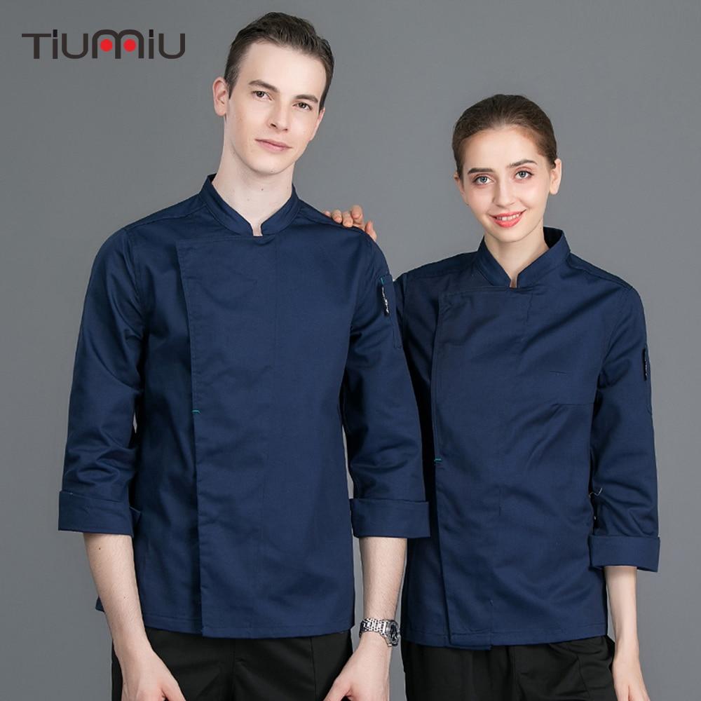 New Chef Jacket Long Sleeve Restaurant Kitchen Uniforms Catering Hotel Waiter Work Coat Overalls Bakery Sushi Chef Uniform