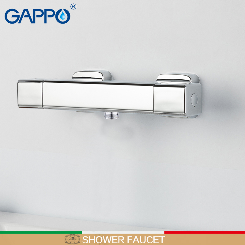 GAPPO shower faucet thermostatic water faucets taps mixer Square bath tap mixer rainfall shower set brass shower mixer tap chrome polished rainfall solid brass shower bath thermostatic shower faucet set mixer tap with double hand sprayer wall mounted