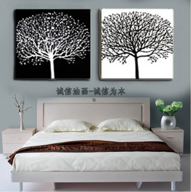 Decorative wall painting abstract paintings black and white 2 pieces abstract canvas art home