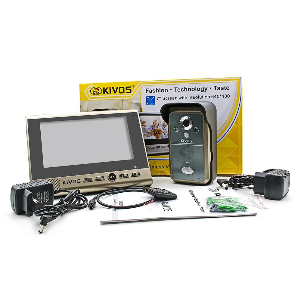 KIVOS KDB700 Wireless Video Door Phone Intercom 7 inch TFT Monitor Dual Audio Remote Unlocking Night Vision PIR Sensor