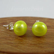 Stud Pearl Earrings – AAA 8-8.5MM Yellow Green Color Natural Freshwater Pearl Stud Earrings – Free Shipping