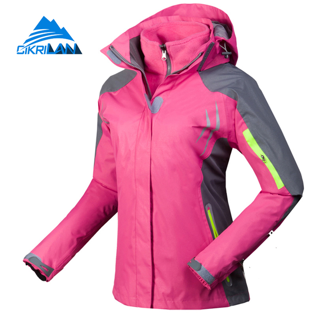 4de74e582 Cikrilan Hiking Camping Ski Chaquetas Mujer Outdoor Sport Windstopper  Winter Jacket Women Warm With Coat Detachable