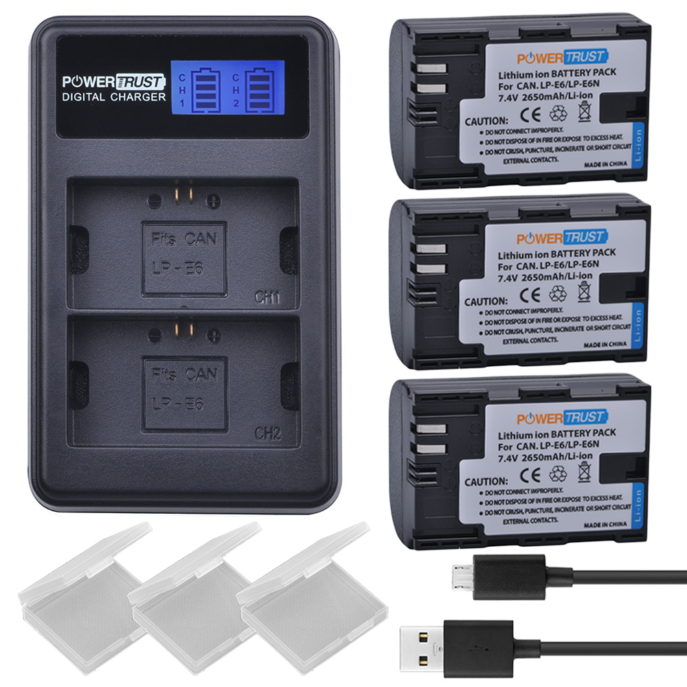 3Pcs LP-E6 LPE6 LP E6 Camera Batteries + LCD USB Dual Channel Charger for Canon EOS 60D, 70D, 5D Mark II, 5D Mark III, 5D Mark