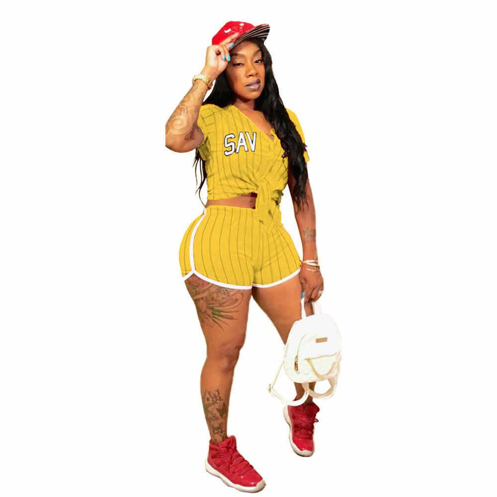 2018 neue Frauen Baseball Trikots Kurzarm Baseball Shirts Striped Brief Drucken V-ausschnitt Top Sexy Shorts Baseball Kostüm Set