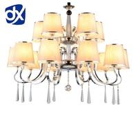 Chandelier Lighting Nordic Style Linen Modern Chandelier Fabric Crystal Chandelier E27 Lustres De Cristal Chandelier