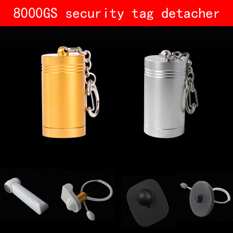portable Aluminum shell sliver gold security tag detacher 8000GS eas strong magnet tag remover clothing shoes hybon golf detacher 15000gs universal magnet tag remover eas security detacher removedor de alarmas clothing detachers